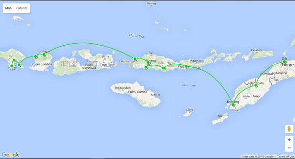 30 day Eastern Indonesia itinerary map