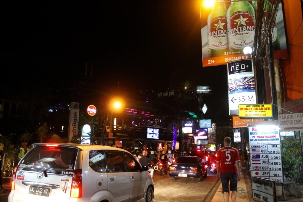 Jalan Legian nightlife around the Bali Bombing memorial