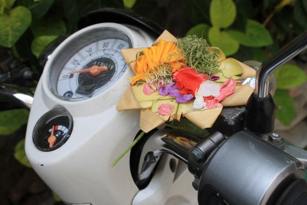 Motorbike Bali Flower Offering Ubud