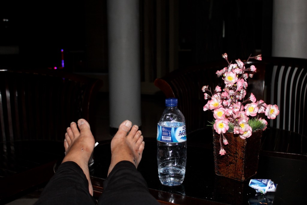 Feet up at Hotel Asteria Kefamenanu