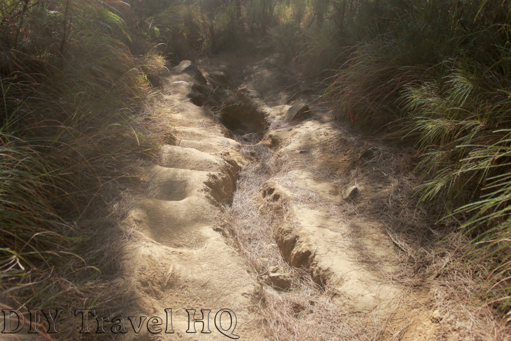 Dusty hiking trail on Mount Bromo