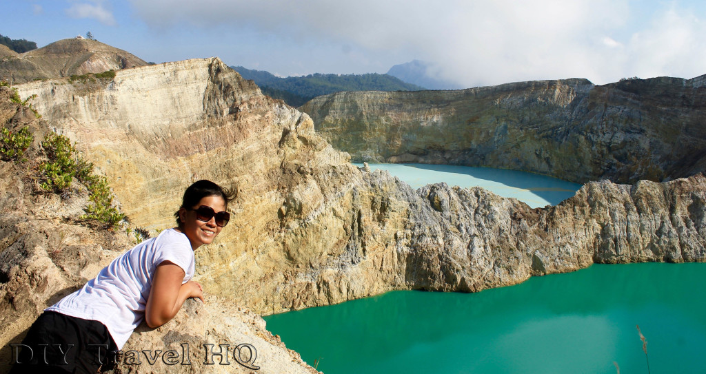 Me overlooking the coloured lakes of Mt Kelimutu