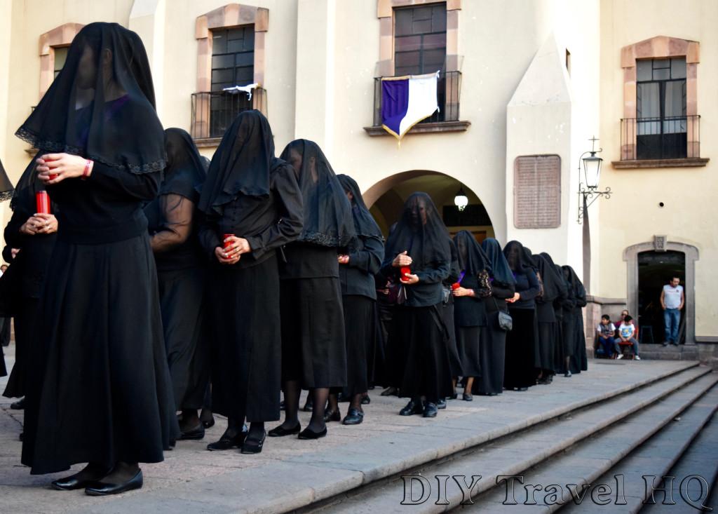 Convento de la Santa Cruz Procesion del Silencio Veiled Women