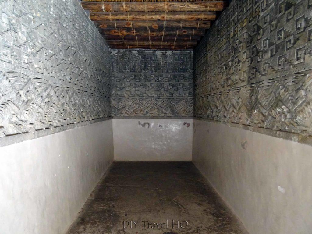 Mitla Ruins Inside Hall of Columns Chamber