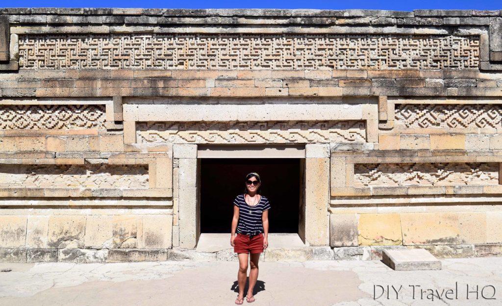 Mitla Ruins Mosaics Inside Hall of Columns