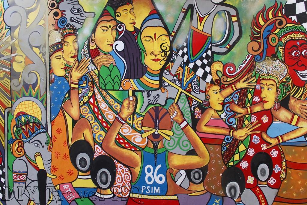 Street art on the walls of Yogyakarta