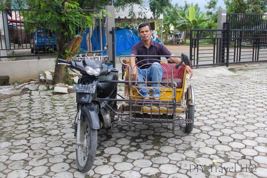 Motorised becak tsunami tour
