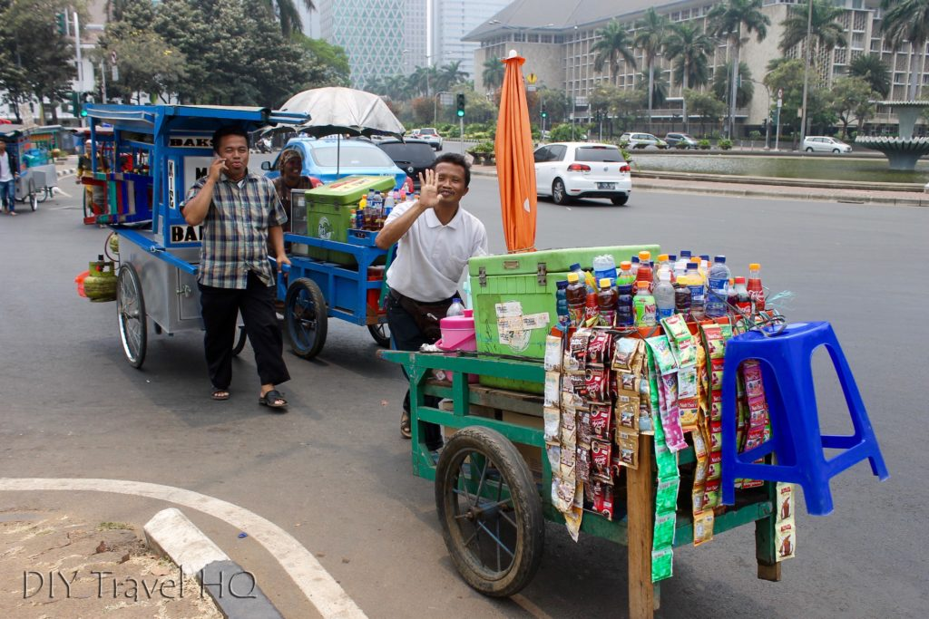 Friendly food cart vendors in Jakarta