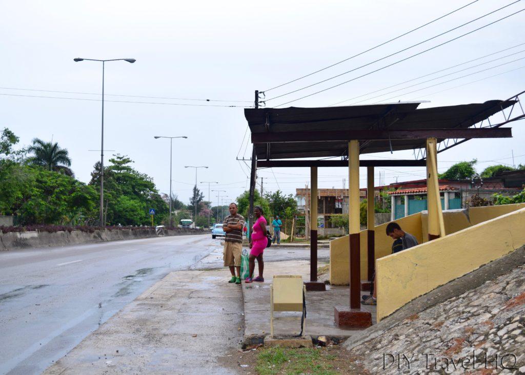Public bus stop Havana airport