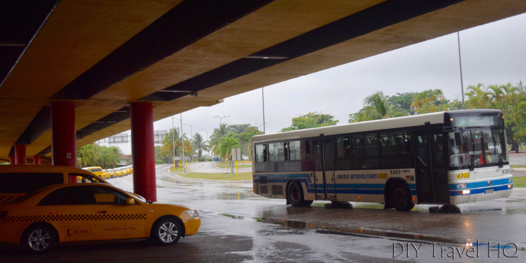 Taxi & bus at Havana airport