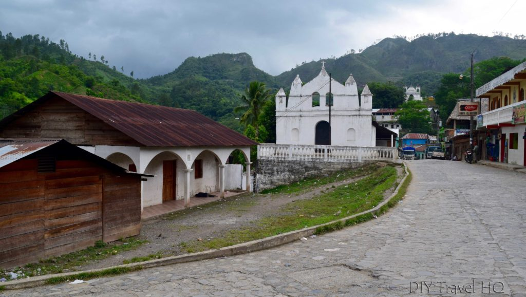 Lanquin Churches with Mountain Backdrop