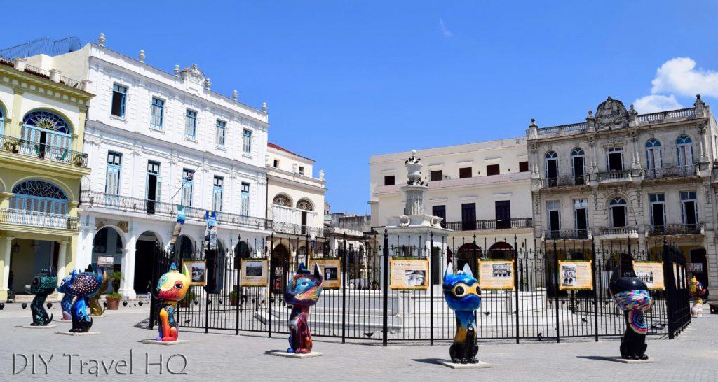Old Havana Plaza Vieja Fountain and Street Art