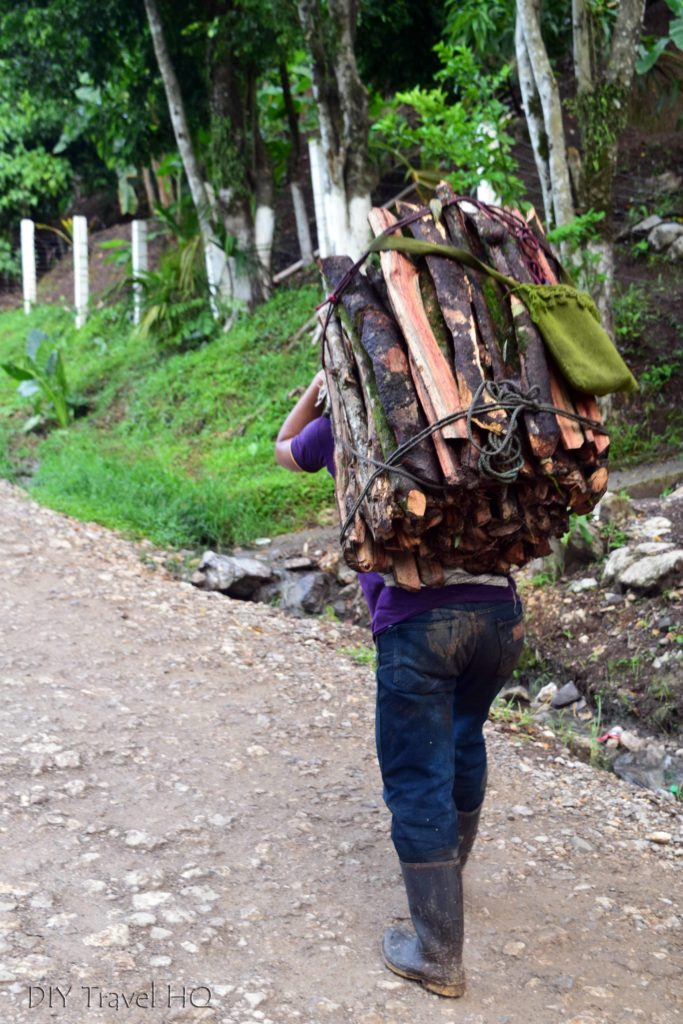 Road to Lanquin Caves Local Carrying Firewood