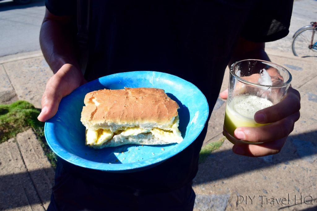 Egg sandwich & sugar cane juice