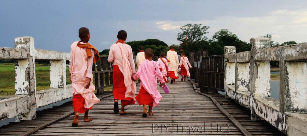 Nuns crossing U-Bein Bridge