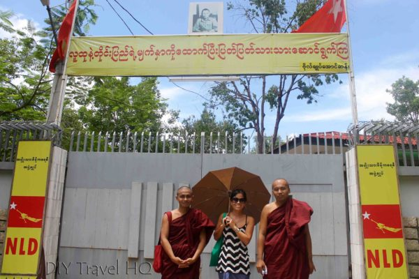 Entrance of Me with my monk friends at Aung San Suu Kyi's House