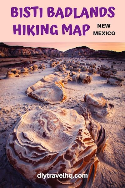 Go hiking in Bisti Badlands, New Mexico! Check out our Bisti Badlands map with GPS coordinates and find out how to get to the Bisti Badlands eggs in the De-Na-Zin wilderness #bistibadlands #denazin #newmexico #newmexicotravel #diytravel