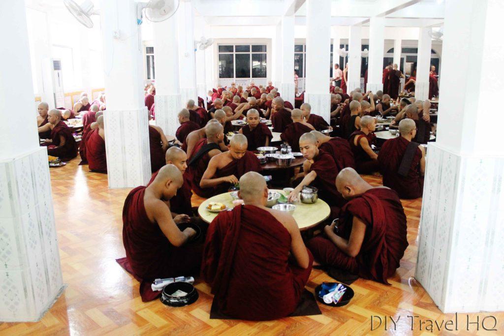Monks eating at Bago monastery