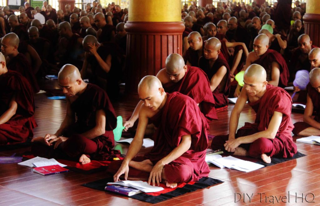Monks studying at monastery