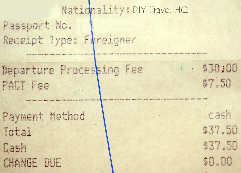 Belize Exit Fee Receipt