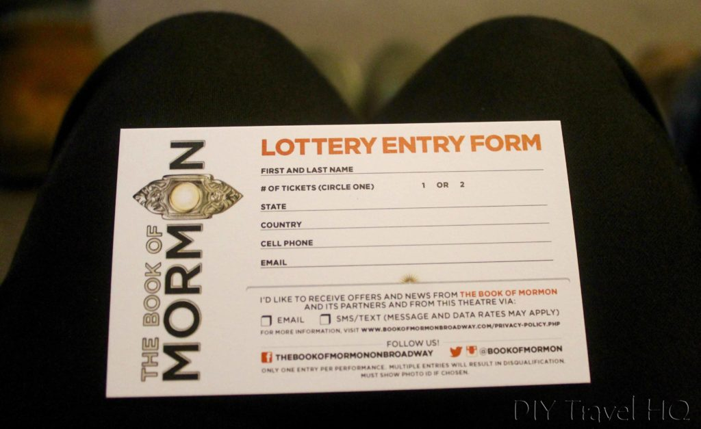 Book of Mormon lottery card