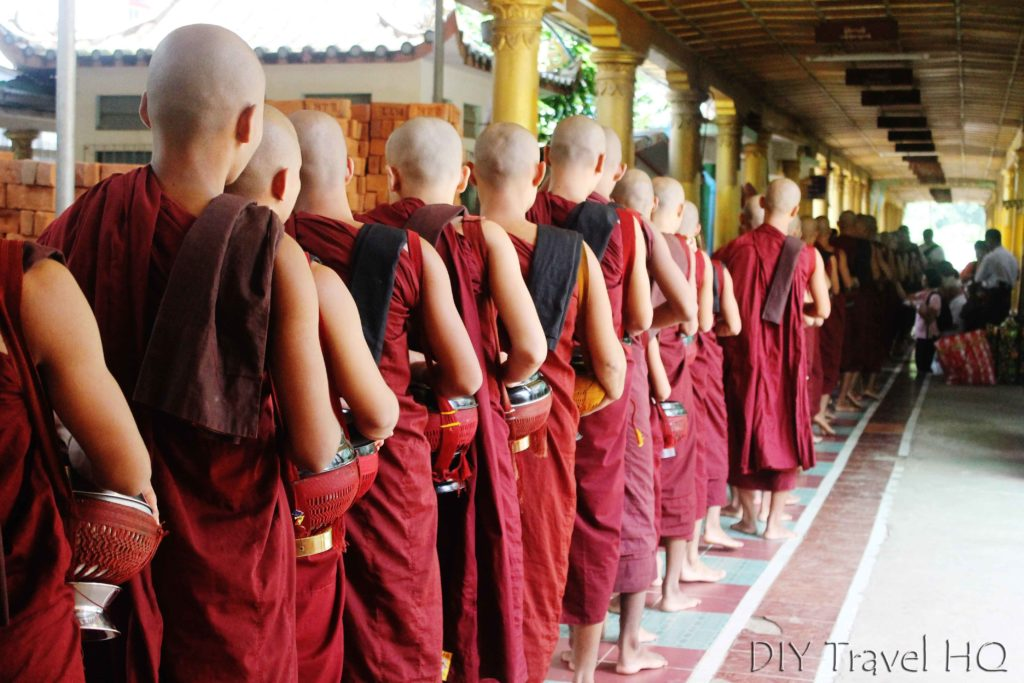 Monks wear 3 sets of red robes