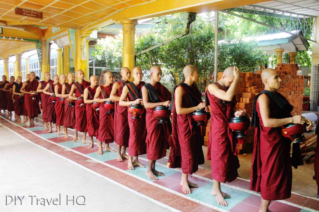 Monks in lunchtime procession