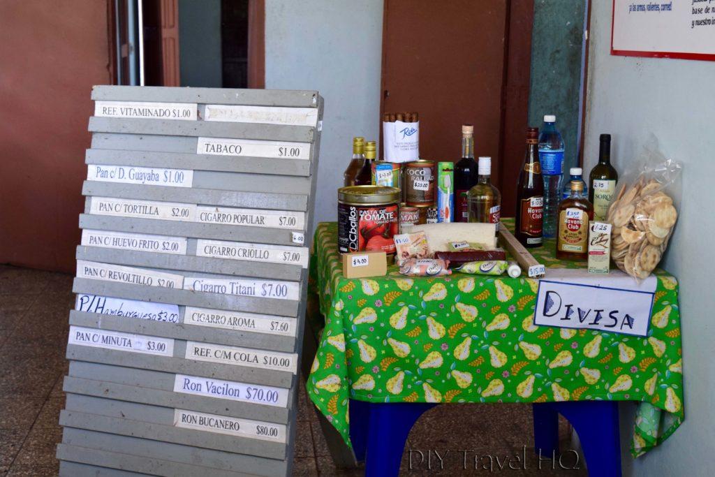 Peso menu in Cuba