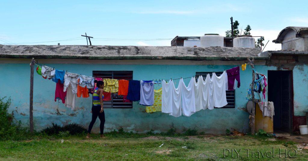 Hanging laundry in Havana