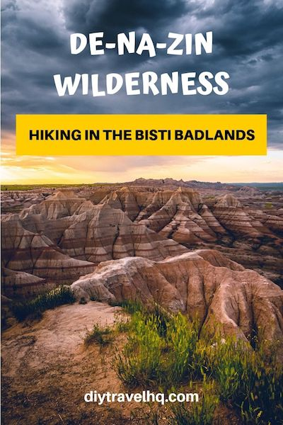 Go hiking in De-Na-Zin Wilderness aka Bisti Badlands, New Mexico! Check out our Bisti Badlands map and find out the top attractions in this surreal landscape #denazin #de-na-zin #bistibadlands #newmexico #diytravel