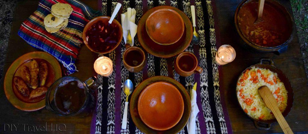 Dinner spread at Ixiim