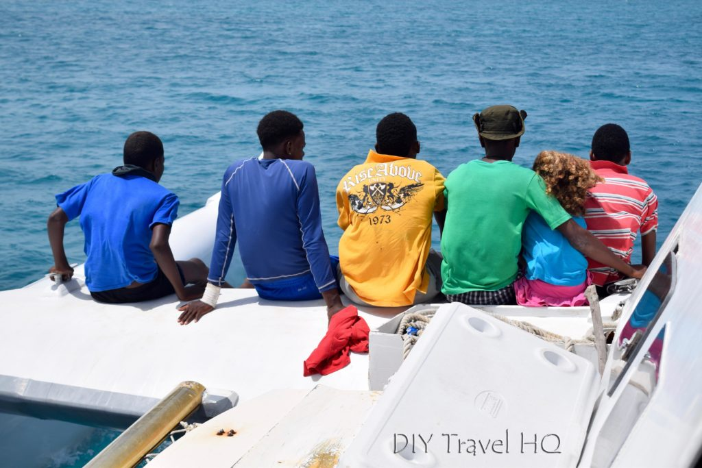 Boat ride to Glovers Atoll Resort