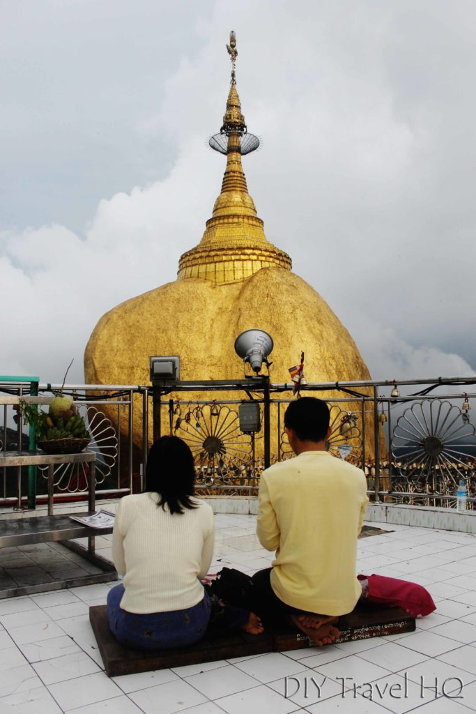 Praying in front of Golden Rock