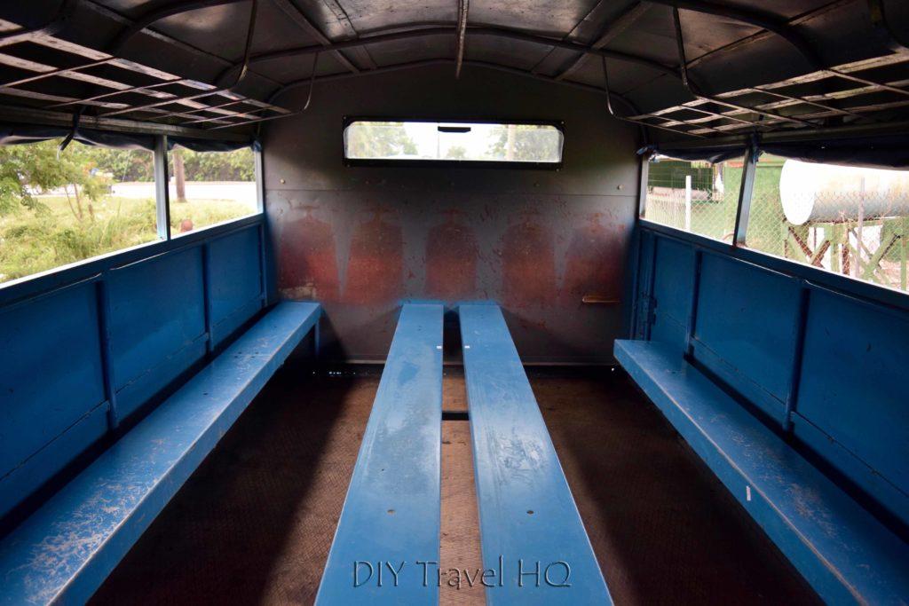 Inside an empty camion