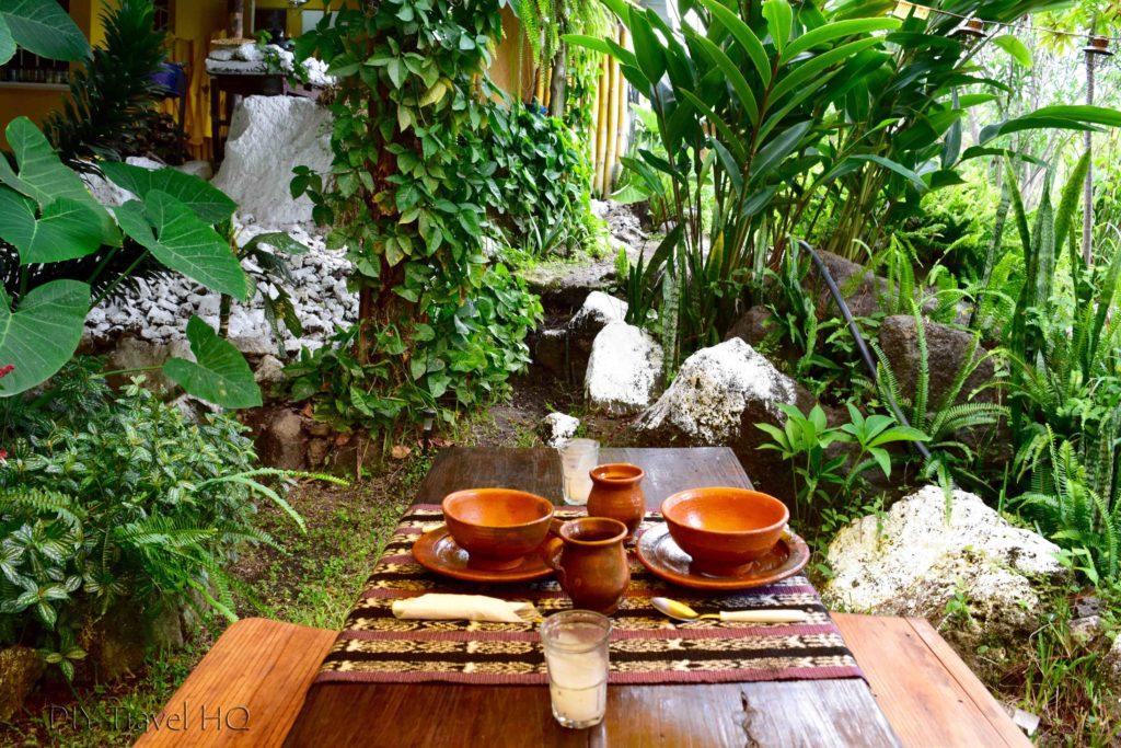 Dinner table in Ixiim garden