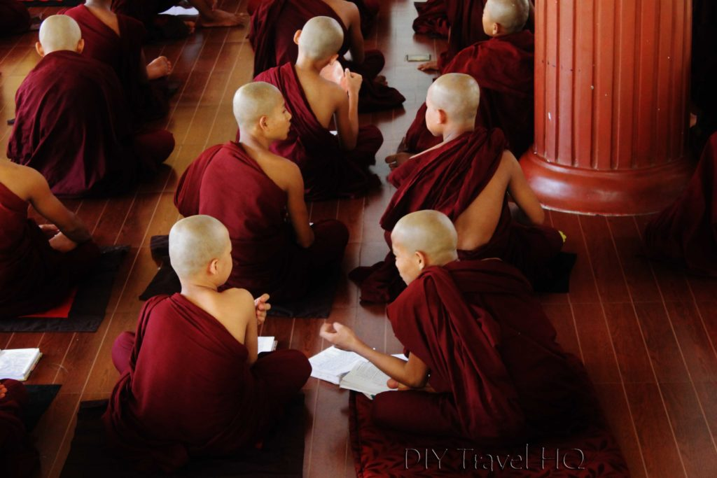 Monks whisper at Bago monastery