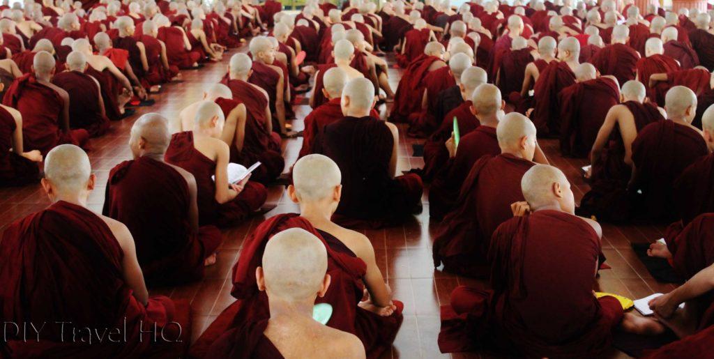 Monks studying Buddhism