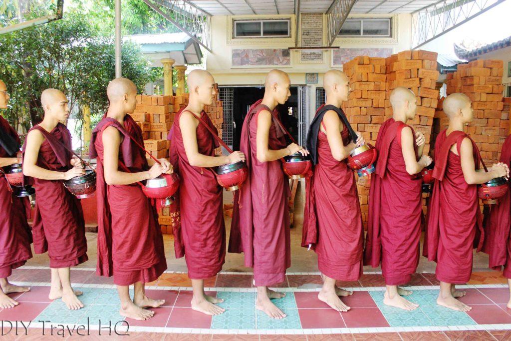 Monks in line at Kha Khat Wain Kyaung