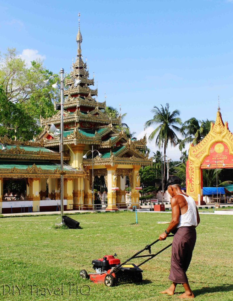 Lawn mowing at Excellent maintenance at Theinwa Kyung Temple