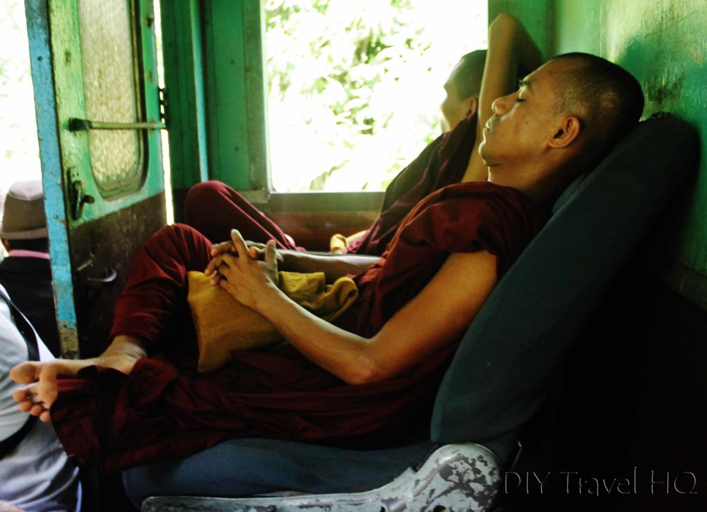 Monk on train