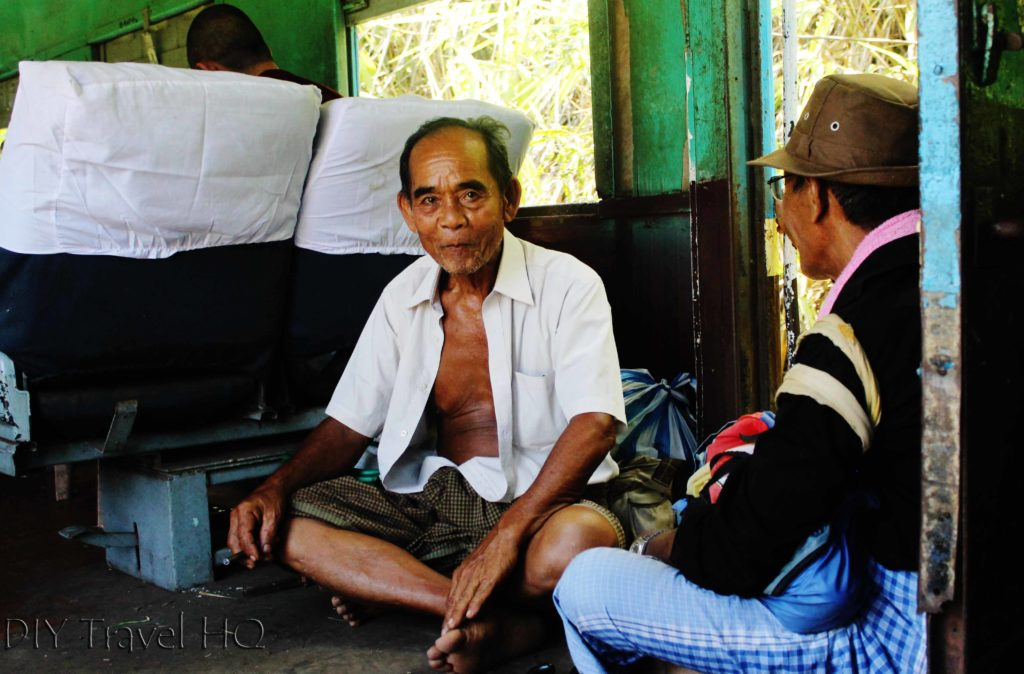 Passenger on Myanmar train
