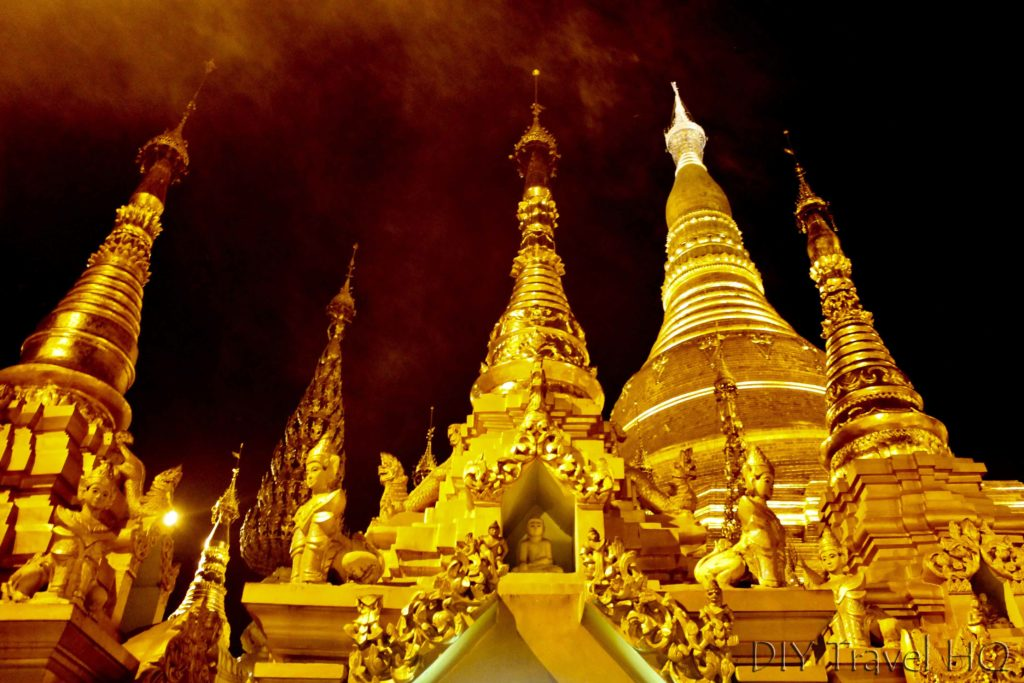 Gold stupas in Shwedagon