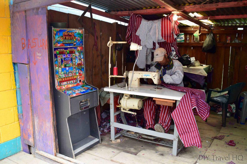 Todos Santos Cuchumatan Man Sewing Traditional Clothing