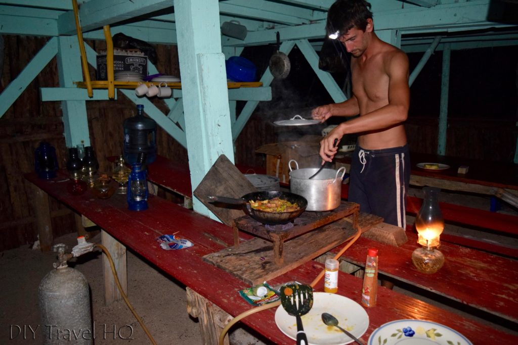 Cooking in kitchen on Glovers Atoll