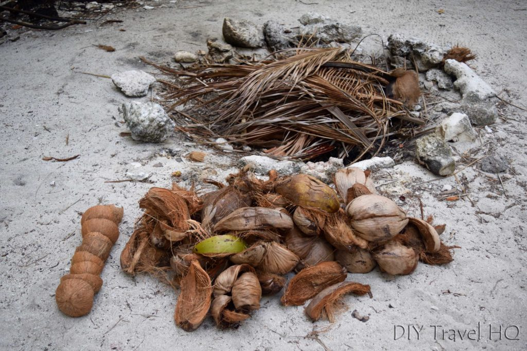 Coconut husk fire on Glovers Atoll
