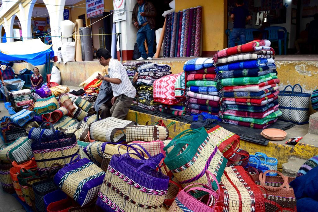 Momostenango Market Blankets and Baskets