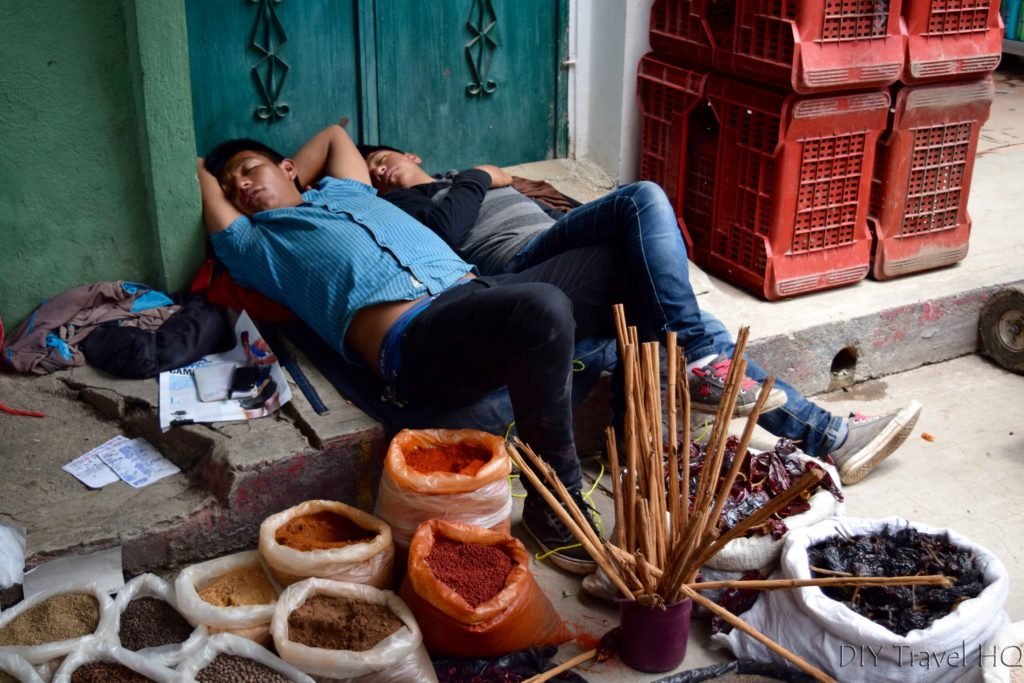 Momostenango Market Spice Vendors Sleeping on the Job