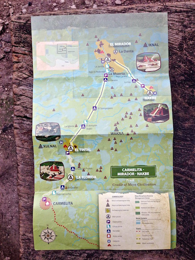 5 Day Hike to El Mirador, Guatemala Route Map