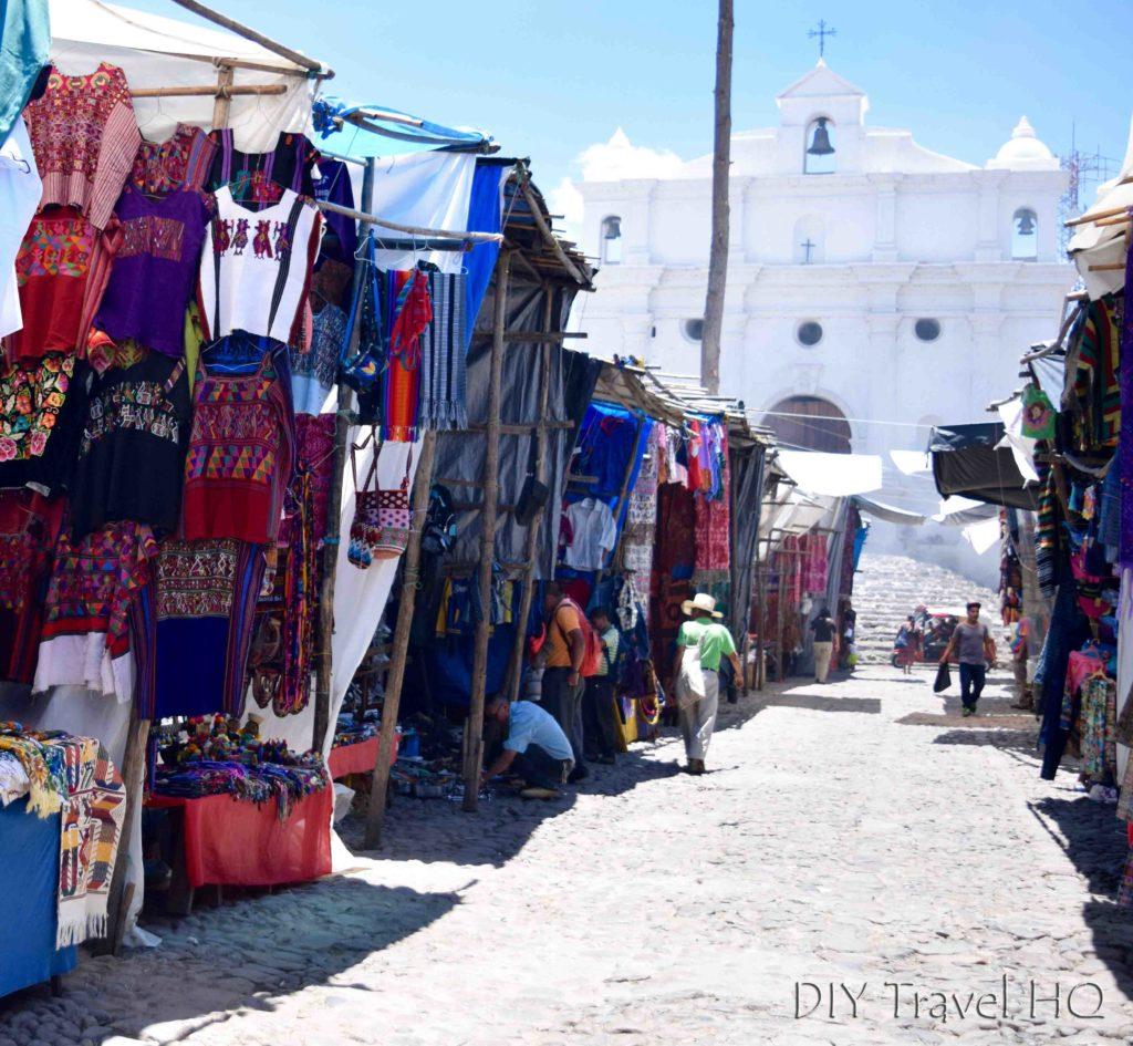 Chichicastenango Central Market Vendors and Iglesia de Santo Tomas