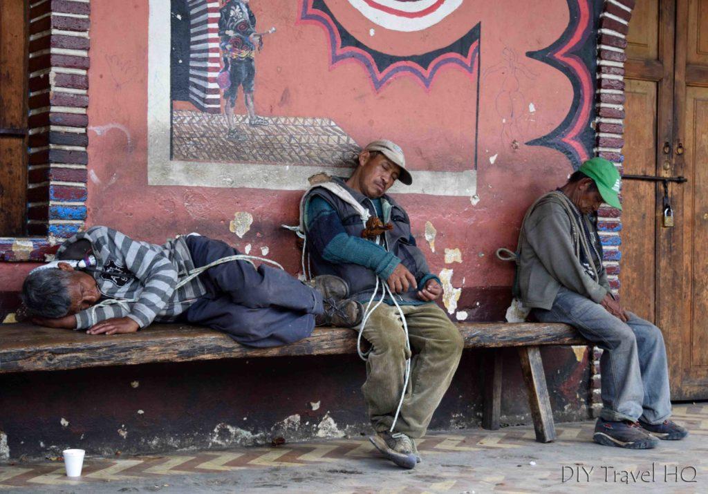 Chichicastenango Guatemalas Sleeping in Arcade Surrounding Main Plaza